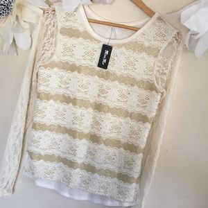 Miss Me | Ivory Lace Gold Metallic Top | Size S